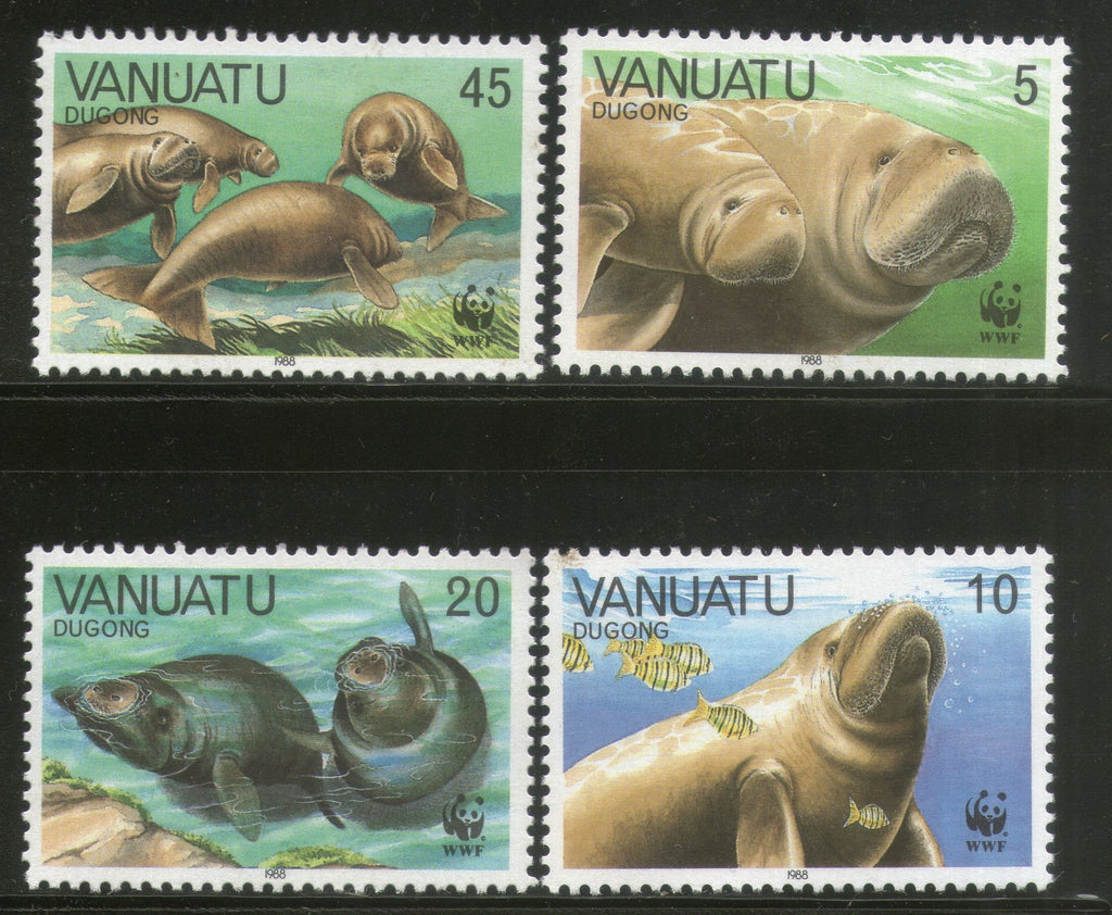 Vanuatu 1988 WWF Dugongs Fish Marine Life Animal Fauna 4V Sc 470-73 MNH # 062 - Phil India Stamps