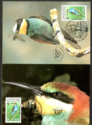 Austria 1988 WWF Bee Eater Bird Wildlife Animal Fauna Sc 1425 Set of 2 Max Cards # 64 - Phil India Stamps