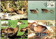 Bahamas 1988 WWF Whistling Duck Bird Wildlife Animal Sc 645-8 Set of 4 Max Cards # 66 - Phil India Stamps