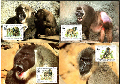 Cameroun 1988 WWF Baboon Monkey Wildlife Animals Sc 843-6 Set of 4 Max Cards # 67 - Phil India Stamps