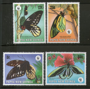 Papua New Guinea 1988 WWF Birdwing Butterfly Insect Fauna 4v Sc 697-700 MNH # 070 - Phil India Stamps