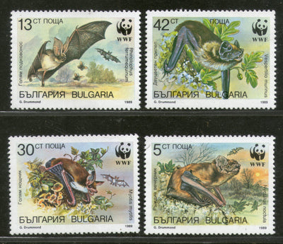Bulgaria 1989 WWF- Horseshoe Vesper Bats Animal Fauna Sc 3398-3401 MNH # 078 - Phil India Stamps