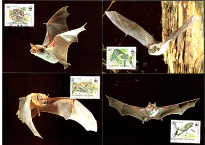 Bulgaria 1989 WWF Bats Wildlife Animals Sc 3398-3401 Set of 4 Max Cards # 78 - Phil India Stamps