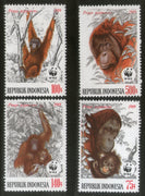 Indonesia 1989 Orangutans Monkey Wildlife Animal Fauna Sc 1382-85 WWF MNH # 079 - Phil India Stamps