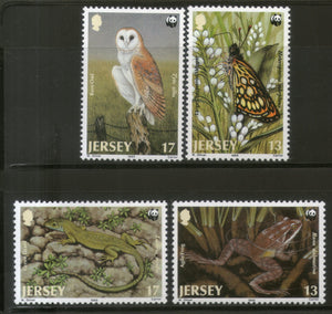 Jersey 1989 WWF Owl Butterfly Lizard Wildlife Animal Fauna Sc 507-10 MNH # 080 - Phil India Stamps