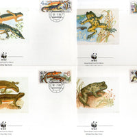 Czechoslovakia 1989 WWF Frog Amphibians Wildlife Fauna Sc 2748-51 Set of 4 FDCs  # 85 - Phil India Stamps