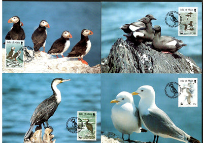 Isle of Man 1989 WWF Puffin Guillemot Kittiwak Sea Bird Wildlife Sc 399 Max Cards # 86 - Phil India Stamps