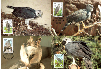 Guyana 1990 WWF HARPY EAGLE Birds of Prey Wildlife Animals Sc 2241 Set Max Cards # 89 - Phil India Stamps