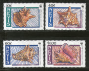 Nevis 1990 WWF Queen Conch Sea Shell Marine Life Animal Fauna Sc 591-4 MNH # 091 - Phil India Stamps