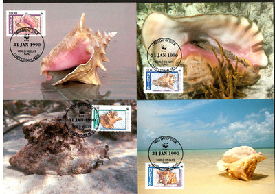 Nevis 1990 WWF Queen Conchs Shell Marine Life Animals Sc 591-4 Set 4 Max Cards # 91 - Phil India Stamps