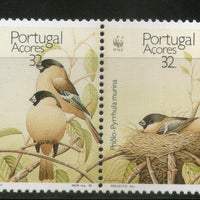 Azores 1990 WWF Sao Miguel Bullfinch Birds Wildlife Fauna Sc 385-88 MNH # 092 - Phil India Stamps