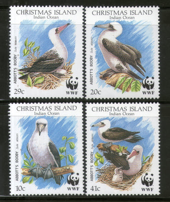 Christmas Islands 1990 WWF Abbott's Booby Birds Wildlife Animal Fauna Sc 270-73 MNH # 98