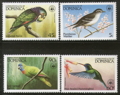Dominica 1984 WWF Birds Parrot Warbler Wildlife Fauna Sc 827-30 MNH # 009 - Phil India Stamps