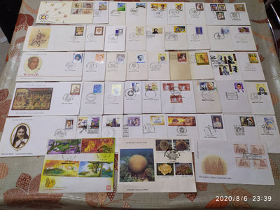 India 2001 Year Pack of 48 FDCs on Painting Space Mahatma Gandhi Ship Corals Cinema Temple Wildlife Animals Butterfly