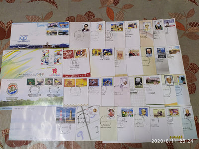 India 2012 Year Pack of 33 FDCs on Olympic Games Lighthouse Joints Issue Wildlife Animals Aviation