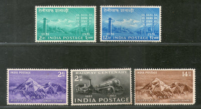 India 1953 Year Pack 5 Stamps Conquest Mount Everest Railway Telegraph MNH - Phil India Stamps