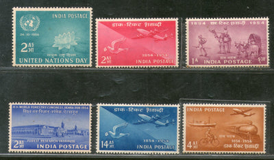 India 1954 Year Pack 6 Stamps Stamp Centenary Forestry Congress Mail Transport Aviation MNH - Phil India Stamps