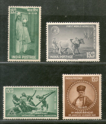 India 1959 Year Pack of 4 Stamps ILO World Agriculture Fair Children's Day MNH - Phil India Stamps