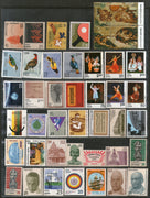 India 1975 Year Pack of 42 Stamps Bird Michelangelo Painting Dance Tennis YMCA Sikhism MNH - Phil India Stamps