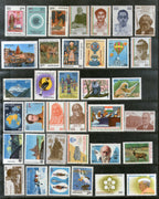 India 1983 Year Pack of 36 Stamps Bird Gandhi Nehru Tiger Wildlife Painting Deer Monkey Wildlife Animals First Flight MNH - Phil India Stamps