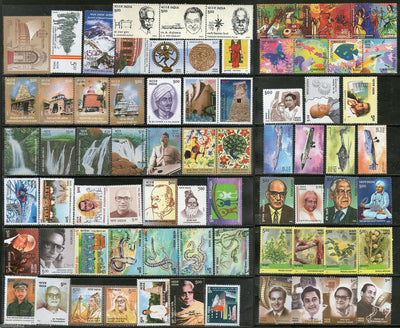 India 2003 Year Pack 71 Stamps Aero India Music Temple Mt.Everst Snake Medicinal Plant Cinema MNH