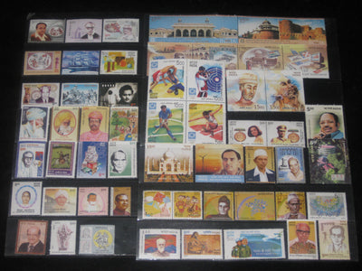 India 2004 Year Pack 55 Stamps Music Tajmahal Trignometrical Joint Issue Cinema MNH