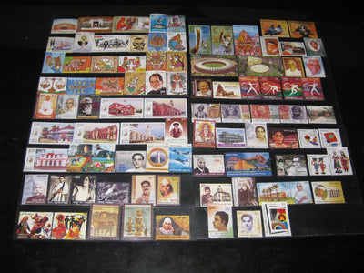 India 2010 Year Pack of 91 Stamps Gandhi Astrological Sign Games Music Baton MNH