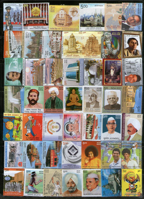 India 2013 Year Pack of 120 Stamps Cinema Animals Flowers Cricket Dam Train MNH