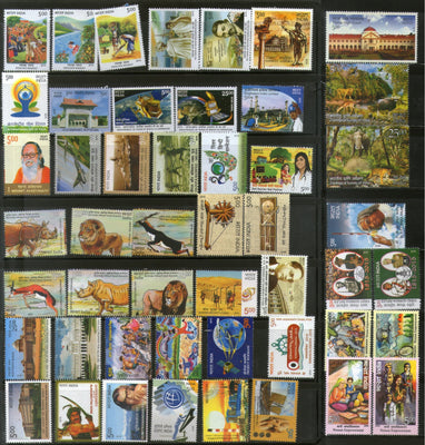 India 2015 Year Pack of 49 Stamps Gandhi Animals Painting Space Military MNH