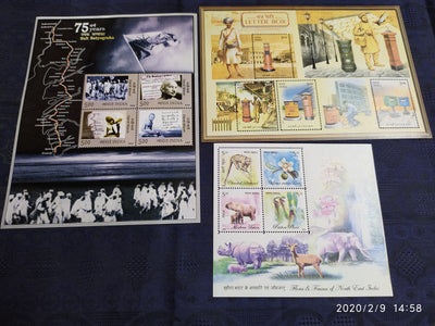 India 2005 Year Pack of 3 M/s on Mahatma Gandhi Dandi March Fauna & Flora Flower Wildlife Letter Box MNH