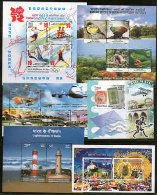 India 2012 Year Pack of 6 M/s Olympic Birds Lighthouse Aviation Biodiversity Philately MNH