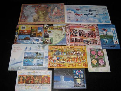 India 2007 Year pack of 11 M/s Gandhi Energy Airforce Rose Bridge Buddha Fairs Aeroplane MNH