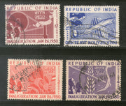 India 1950 Used Year Pack of 4 Stamps Inauguration of Republic India Charkha - Phil India Stamps