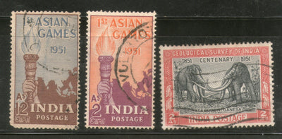India 1951 Used Year Pack of 3 Stamps Geological Survey Aisian Games Elephant - Phil India Stamps