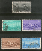 India 1953 Used Year Pack of 5 Stamps Telegraph & Railway Centenary Mt. Everest - Phil India Stamps