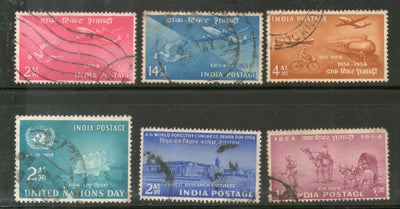 India 1954 Used Year Pack of 6 Stamps UN Stamp Centenary Transport Forestry - Phil India Stamps