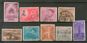 India 1957 Used Year Pack of 9 Stamps Red Cross Children's Day Universities - Phil India Stamps