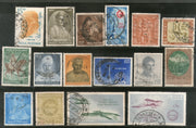 India 1961 Used Year Pack of 16 Stamps Airmail Archeological Survey Tagore Radio - Phil India Stamps