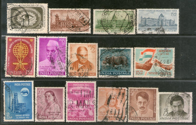 India 1962 Used Year Pack of 15 Stamps Oil Refinery High Court Wildlife Malaria - Phil India Stamps