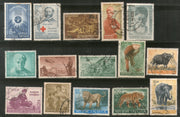 India 1963 Used Year Pack of 15 Stamps Wildlife Vivekananda Red Cross Roosevelt - Phil India Stamps