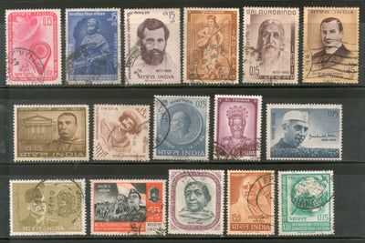 India 1964 Used Year Pack of 16 Stamps Subhas C. Bose Gandhi Geological Huffkin Nehru - Phil India Stamps