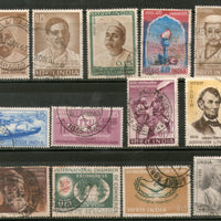 India 1965 Used Year Pack of 13 Stamps Lincoln Maritime ITU Mt. Everest Tata - Phil India Stamps