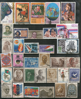 India 1973 Used Year Pack of 34 Stamps Cricket Painting Gandhi Mt. Everest Flag - Phil India Stamps