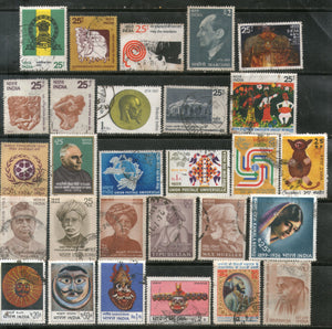 India 1974 Used Year Pack of 28 Stamps Mask UPU UNICEF Marconi Art Museum Roiric - Phil India Stamps