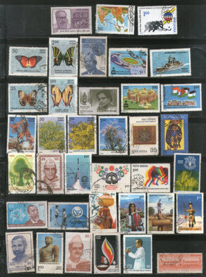 India 1981 Used Year Pack of 37 Stamps Butterfly Game Tree Gandhi Tribes Hockey - Phil India Stamps