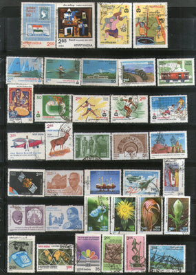 India 1982 Used Year Pack of 36 Stamps Painting Railway Wildlife Games Flowers - Phil India Stamps