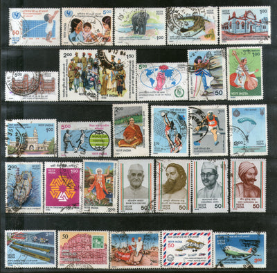 India 1986 Used Year Pack of 29 Stamps Ship Football UNICEF Wildlife Police Music - Phil India Stamps