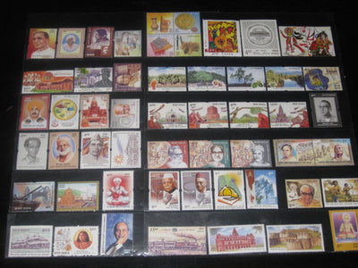 India 2002 Year Pack 54 Stamps Buddha Joints Issue Everest Handicraft Fort Mangroves MNH - Phil India Stamps