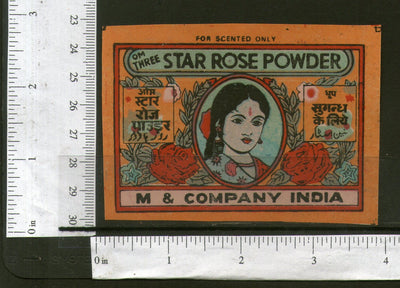 India Women Flower Star Rose Powder Vintage Trade Label Multi-colour # 556-24 - Phil India Stamps
