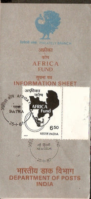 India 1987 Africa Fund Map Phila-1061 Cancelled Folder